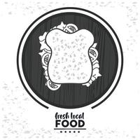 fresh local food lettering with sandwich vector