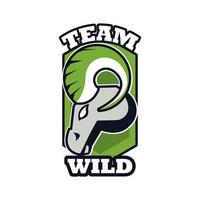 goat head animal emblem icon with team wild lettering vector