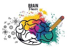 Póster de energía cerebral con salpicaduras de colores y lápiz. vector