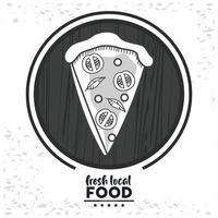 letras de comida local fresca con porción de pizza vector