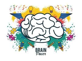 brain power with colors splash and set icons vector