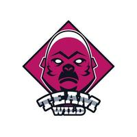 gorilla head animal emblem icon with team wild lettering vector