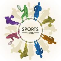 sports time poster with athlete silhouettes in circular frame