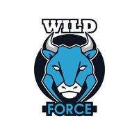 bull front head animal emblem icon with team force lettering vector