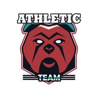bulldog head animal emblem icon with athletic team lettering vector