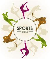 sports time poster with athletes figures silhouettes in circular frame vector