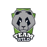 bear head animal emblem icon with team wild lettering vector