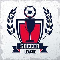 cartel deportivo de la liga de fútbol con balón y copa de trofeo vector