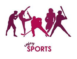 sports time poster with purple athletes figures silhouettes