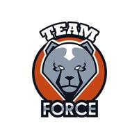 bear head animal emblem icon with team force lettering vector