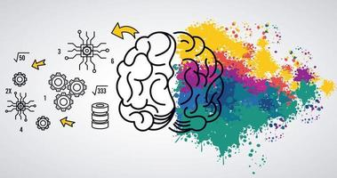 Plantilla de poder cerebral con salpicaduras de colores y elementos establecidos vector