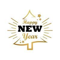 Feliz año nuevo tarjeta de letras con estrellas doradas y árbol de navidad vector