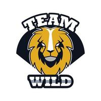 lion head animal emblem icon with team wild lettering vector