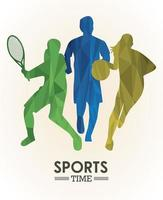 sports time poster with colorful athletes figures silhouettes