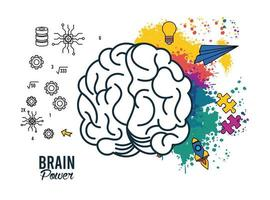 brain power poster with colors and set items vector