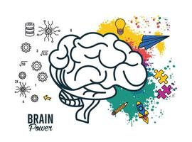 brain power template with colors and icons vector