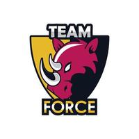 rhino head animal in shield emblem icon with team force lettering vector
