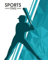 athletic man silhouette practicing baseball vector