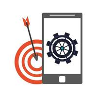 icono de teléfono inteligente y objetivo