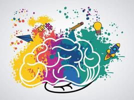 brain power poster with colors and set supplies vector