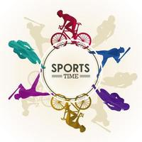 sports time poster with athletes silhouettes in circular frame
