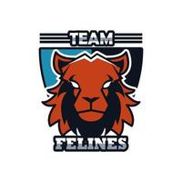 lion head animal emblem icon with team felines lettering vector