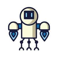 humanoid robot cyborg isolated icon vector