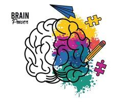brain power poster with colors and set icons vector