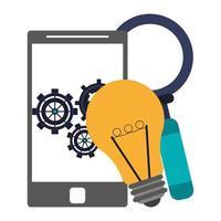 bombilla, smartphone con engranajes y lupa
