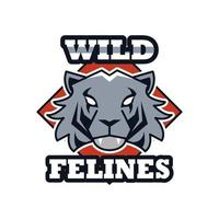 tiger head animal emblem icon with team felines lettering vector
