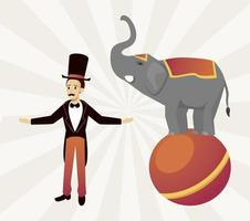 circus ringmaster with elephant on balloon vector
