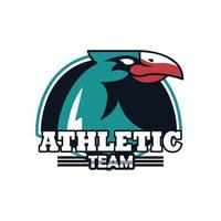eagle head animal emblem icon with athletic team lettering vector