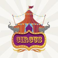 circus tent with elephants and banner entertainment icon vector