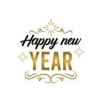 happy new year lettering card in golden frame vector