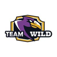 hawk head animal emblem icon with team wild lettering vector