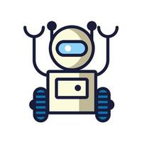 robot with wheels cyborg isolated icon vector