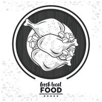 fresh local food lettering with chicken vector