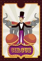 circus ringmaster with elephants on balloons vector