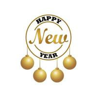happy new year lettering card with golden balls hanging circular frame vector