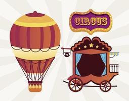 Circo tradicional carruaje vintage y globo aerostático con banner vector