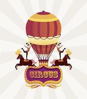 circo mujeres artistas personajes a caballo con globo aerostático vector