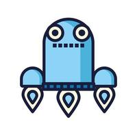 robot floating cyborg isolated icon vector
