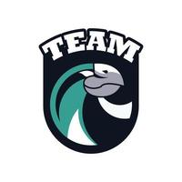 hawk head animal emblem icon with team lettering
