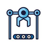 Robot con ruedas cyborg icono aislado vector