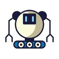robot with wheels cyborg isolated icon