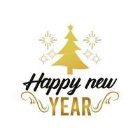 feliz año nuevo tarjeta de letras con copos de nieve dorados y árbol de navidad vector