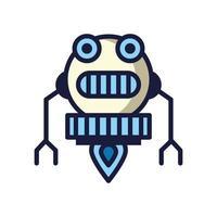 robot floating cyborg isolated icon
