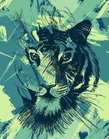 Grunge wild tiger vector