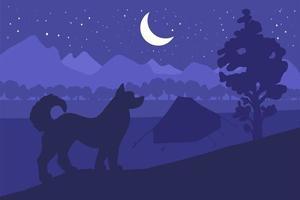 acampar en el bosque con el mejor amigo - perro vector