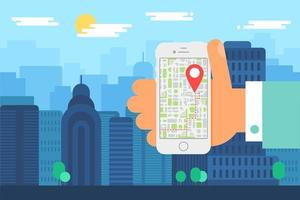 Mobile City Navigation With Smartphone Map App vector